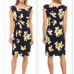 Connected Apparel Navy and Yellow Dress